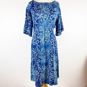 ORVIS PRINT SHIFT DRESS WITH TIE AT WAIST SZ SMALL